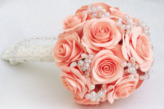 Salmon rose wedding bouquet Pale coral Bridal от FlowersofSharon, $95.00