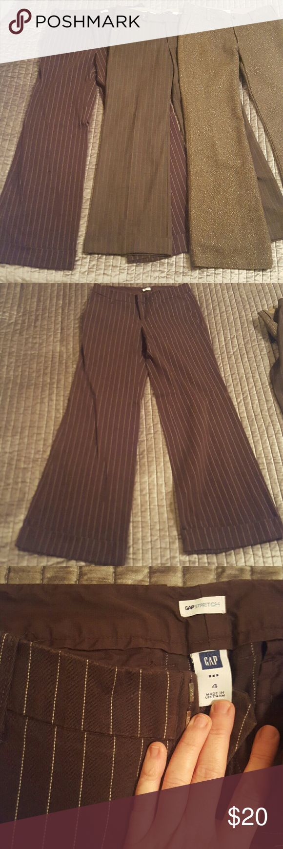 Lady Boss Wide Leg Gap Work Pant Bundle Lot Gap wide leg work pants and in great condition! Left Gap stretch size 4 regular length 98% cotton 2% spandex Middle Gap stretch size 2 ankle length 50% wool 48% polyester 2% spandex Right Gap low rise trouser 4R 58% recycled wool 29% polyester  8% acrylic 5% other and silky soft lining that has a rip (in inside lining) but still covers inside nicely so feels soft instead of wooly GAP Pants Trousers