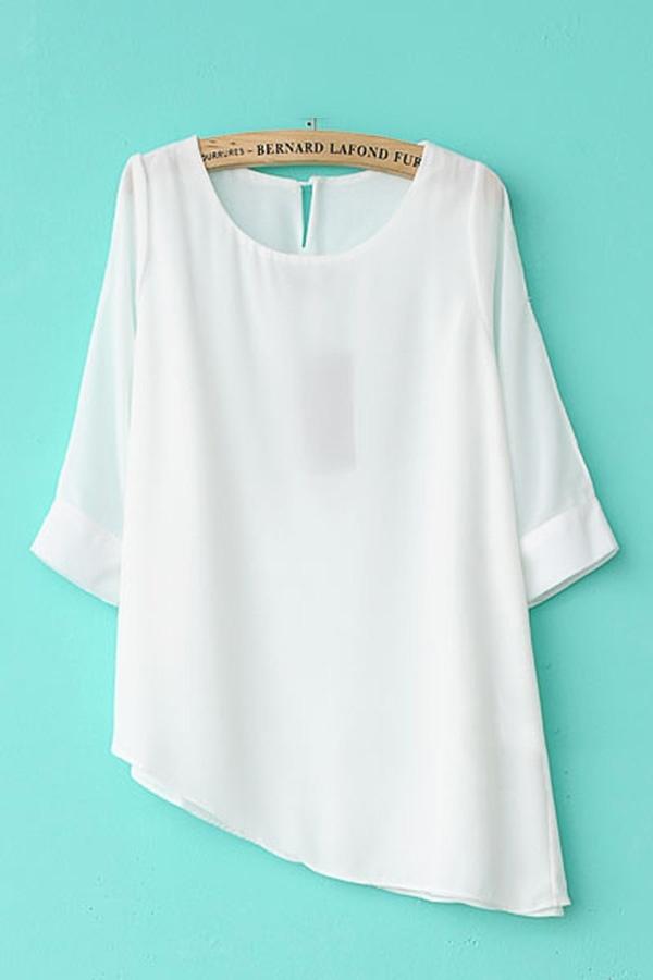 Open Shoulder Chiffon Shirt With Asymmetrical Hem - OASAP.com @Jordan Ippolito Damn, I thought we made this up!