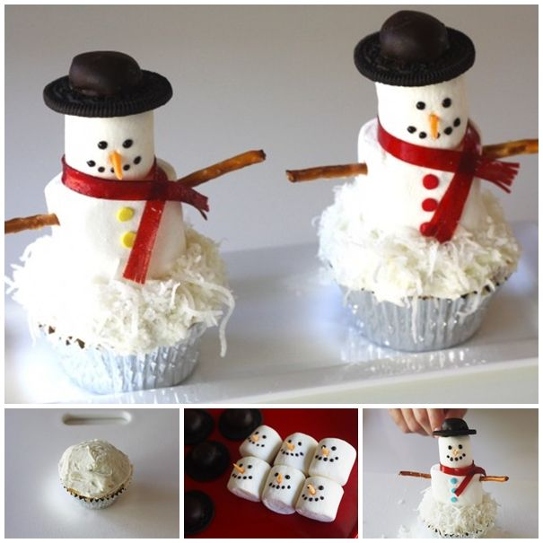 Marshmallow Snowman Cupcake --- a fun and easy christmas treat, a hit with kids and adults!  Recipe-->http://wonderfuldiy.com/wonderful-diy-marshmallow-snowman-cupcakes/
