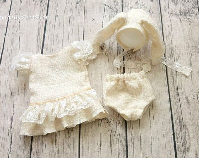 Easter Tunic , Panties and Bunny bonnet,Shorty Romper and bonnet set. Toddler photo Props, Newborn vintage Romper , Baby Photography Prop
