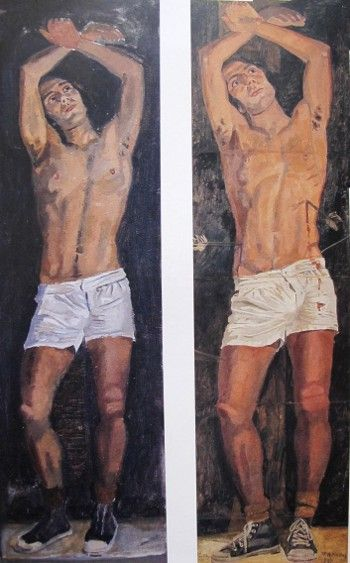 (right) Study for 'Saint Sebastian', Paris, 1970. (left) Saint Sebastian, Paris, 1970.  by Yannis Tsarouchis
