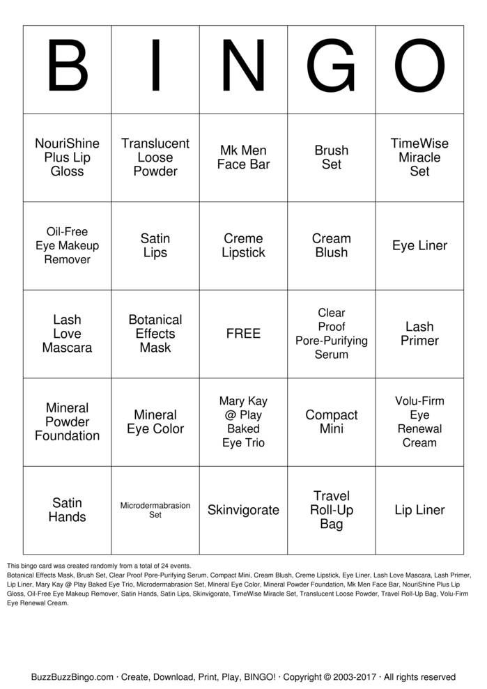 MaryKay Bingo Cards Printable