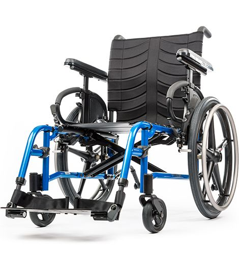 "QUICKIE QXi/QX Lightweight Folding Wheelchair - Mine will be in ""Blue Opal"" (hopefully not this bright of a blue.)"