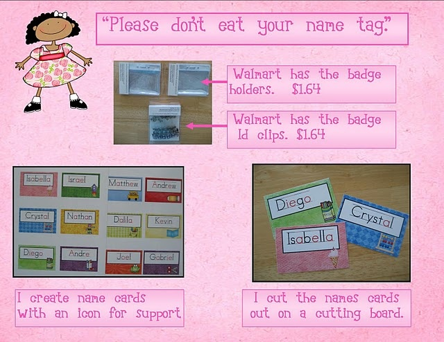 Name Tags! for journals, cubbies, backpacks, etc. Use icons to help the kids id their name -- also like that the vowels are in red!
