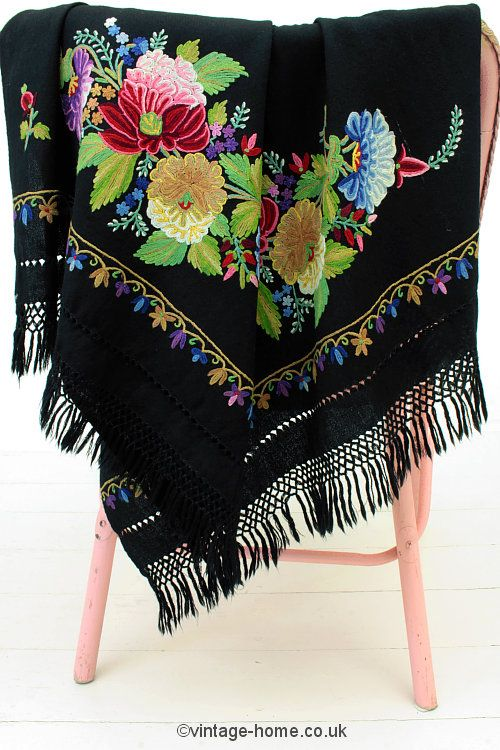Vintage Home Shop - Exquisite 1930s Floral Crewel Work Embroidered Wool Shawl: www.vintage-home.co.uk
