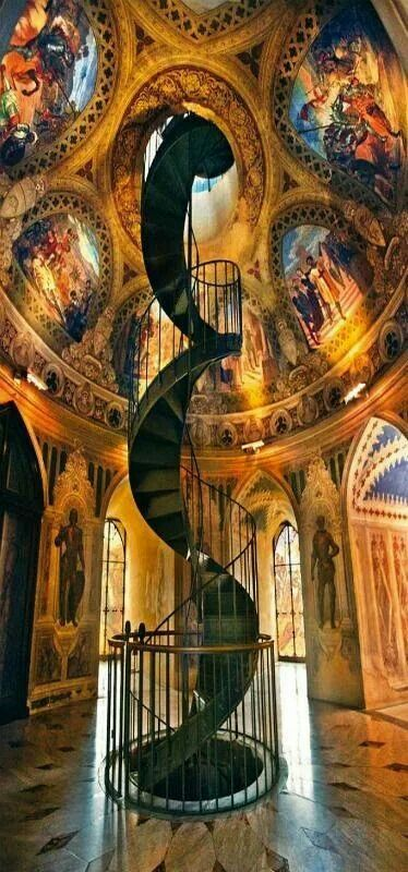 280. amazing spiral staircase and painted ceiling Architecture Travel Inspiration Pictures gorgeous fountains stone european style marble staircases castle light stone old brick #arches #architecture #fireplaces #romantic #places #stained #glass #staircases #windowswrought iron palace Moroccan style