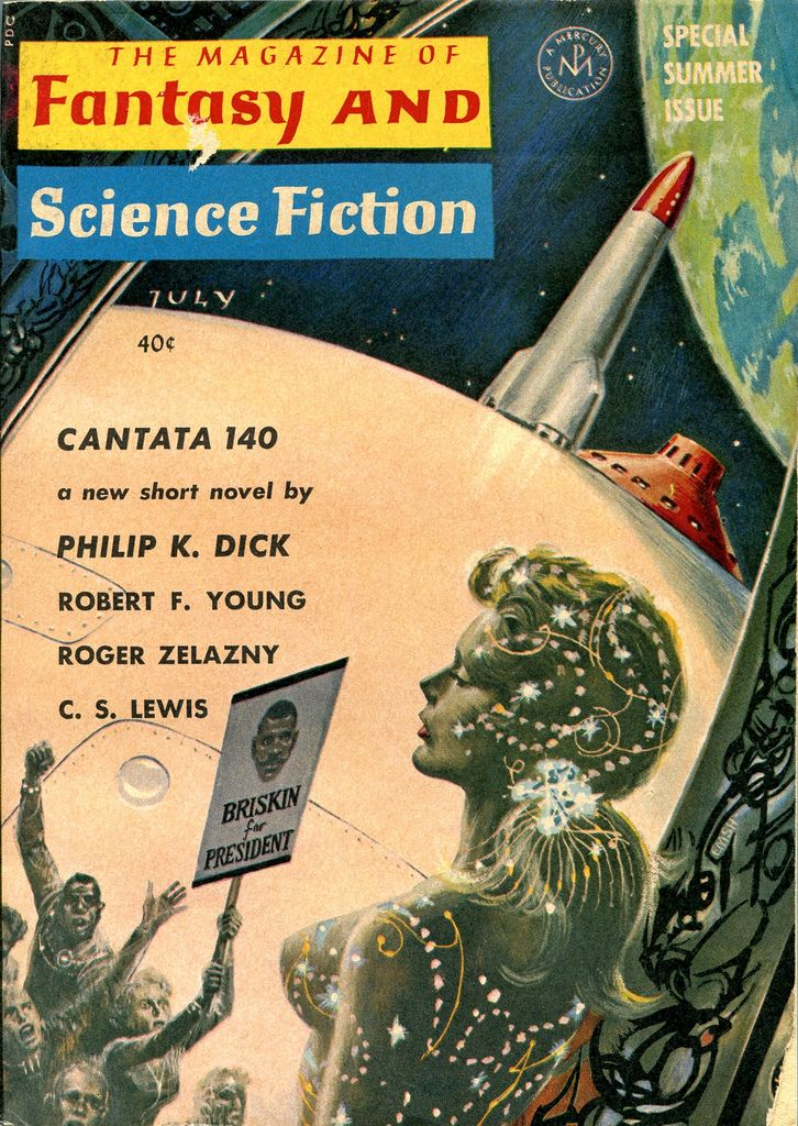 "The Magazine of Fantasy and Science Fiction, July 1964. Contains ""Cantata 140"" by Philip K Dick and ""The Salvation of Faust"" by Roger Zelazny. Cover by Ed Emshwiller."