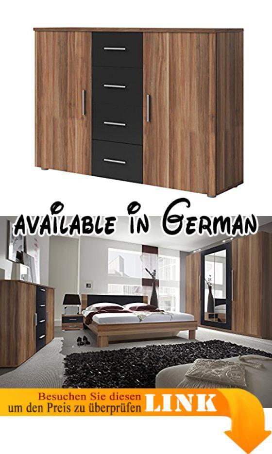 B01M2BLTIU  Kommode Sideboard VERA (nußbaum rot / schwarz) Breite