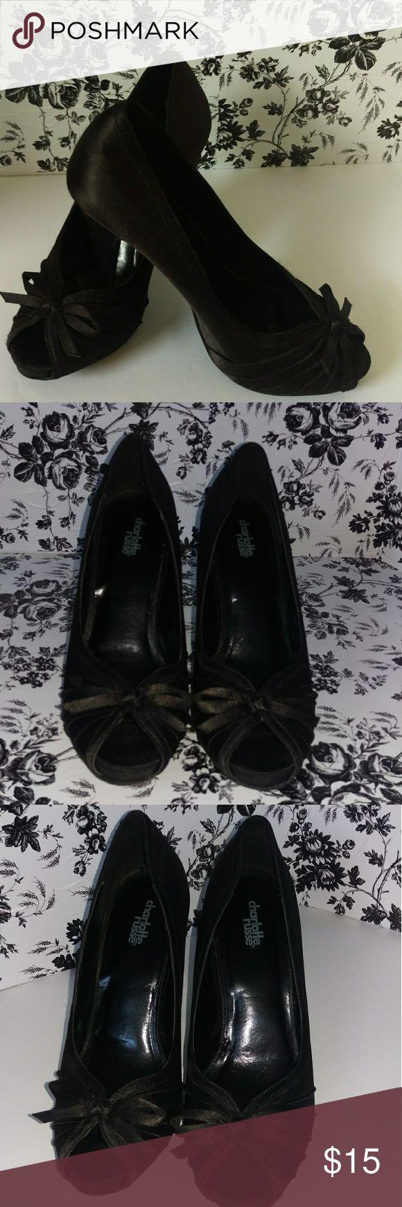 Women's Charlotte Rouse Black Peep Toe Heels Bow 9 Women's Charlotte Rouse Black Peep Toe Heels Bow Size 9 Charlotte Russe Shoes