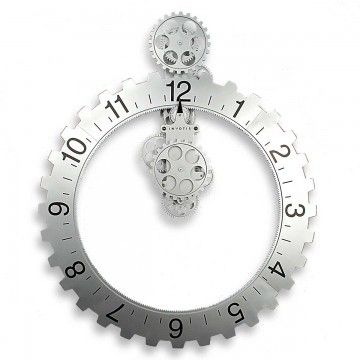 Design by WIL VAN DEN BOS  Diese Design-Uhr ist ein echter Hingucker! Das große, mit Ziffern bedruckte, Zahnrad wird durch das Uhrwerk gedreht und die Zeit wird am schwarzen Pfeil abgelesen. So bewegt sich hier nicht, wie gewöhnlich, der Zeiger, sondern das radförmige Zifferblatt. Gleichzeitig sind auch alle übrigen kleinen Zahnräder mit unterschiedlichen Geschwindigkeiten in Bewegung. Die Wanduhr ist 65cm hoch und 55cm breit, ist aus stabilem Kunststoff und wird mit zwei D-Batterien…