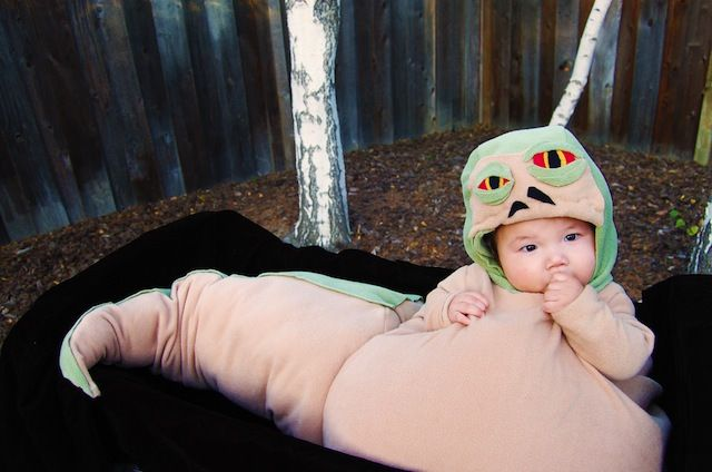 I just about died when I saw this homemade costume!  There is actually a bumbo seat built in!  Check out these other homemade costumes that are seriously a-mazing.