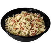 Wegmans Capellini with asiago, tomato, jalepeno, garlic, onion, fresh basil, whatever other spices I feel like and olive oil... Locally it's sold for 7.99/lb.  Saved the prepared foods label and I'm making it this week.  One of my favorites.  Maybe I'll even add a lemon squeeze? And/or some chicken!