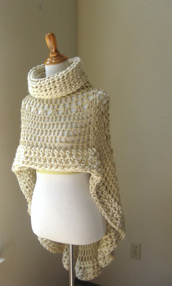 BEIGE BOHEMIAN PONCHO Crochet Knit Cream Cape Shawl Turtleneck Boho Chic Hippie…