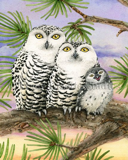 Owl Tree with Snow Owls by Tracy Lizotte