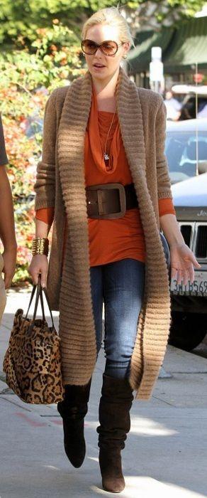 What a FABulous long chunky cardigan coat w slouch boots and cowl sweater - love it!