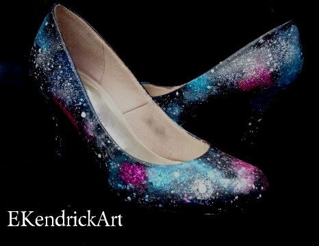Galaxy Inspired Customised Shoes by CreationsByMissMolly on Etsy