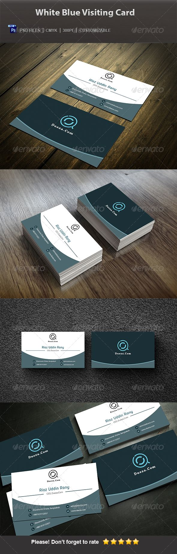 Creative Business Cards: White Blue Visiting Card