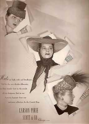 Carson Pirie Scott & Company Hat Advertisement 1942 the French Room