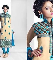 Buy Cream  and  Sky Blue  Beautiful Designer Emroidery Dress Semi Stitched Suit collar-neck-design online