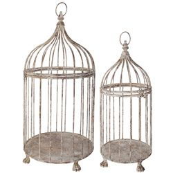 image of Set of 2 Antiqued Bird Cage Plant Holders