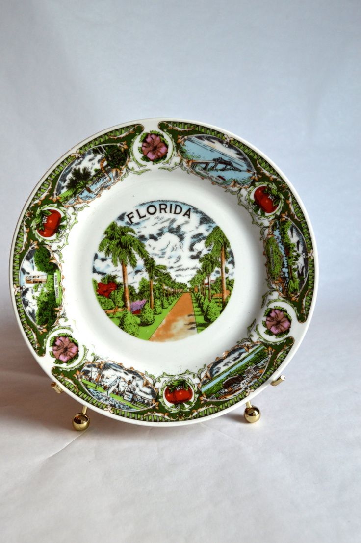 Tropical Florida Souvenir Plate Vintage Florida Hanging Plate by AtomicHawks on Etsy