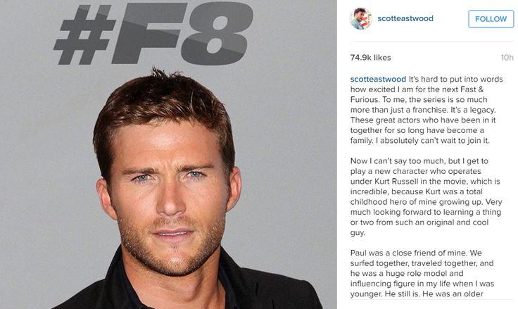 """Fast 8"" Welcomes New Cast Member Clint Eastwood's Son Scott Eastwood - http://www.morningnewsusa.com/fast-furious-8-new-character-scott-eastwood-clint-eastwoods-son-2370314.html"