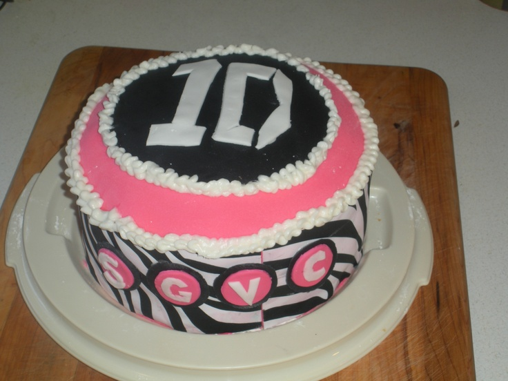One Direction birthday cake. Hot pink, black, white, zebra print. Made with fondant!