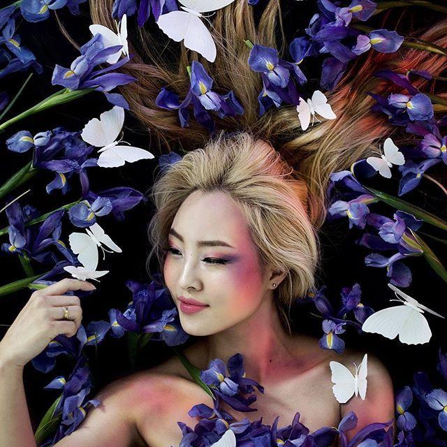 Blue Iris Editorial Flower Portrait Photography Butterflies Iris Portrait Creative Fashion Photography Beauty Shots Travel Style