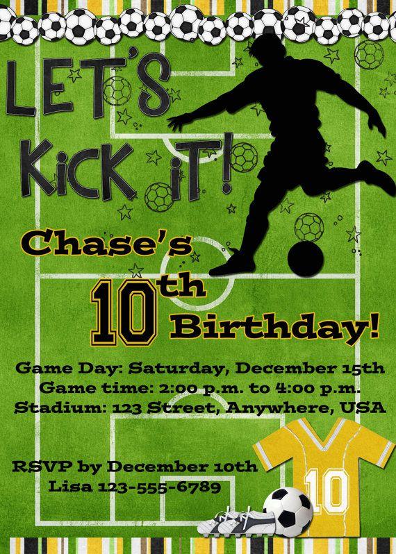 Soccer Birthday Party Invitation  Yellow by DecidedlyDigital, $15.00