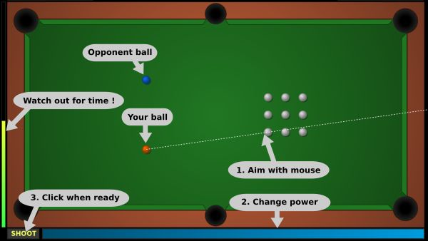 ParaBall - HTML5 multiplayer pool like game where BOTH players shoot balls at the same time (no registration needed)