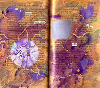 Found words in an altered book: The Art of Happiness. (Lots and lots more where this came from...)