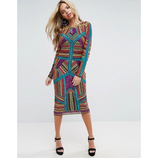 ASOS RED CARPET Geo Multi Coloured Embellished Midi Dress (265 CAD) ❤ liked on Polyvore featuring dresses, multi, body con dresses, multi color prom dress, long sleeve party dresses, bodycon prom dresses and midi party dresses