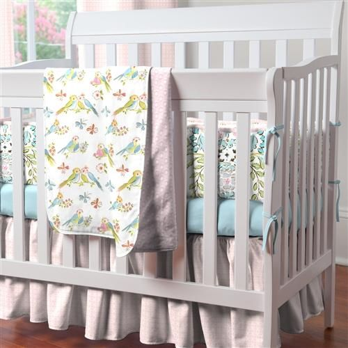 Mini Crib Bedding in Love Birds for Girls by Carousel Designs.