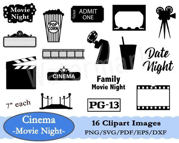 Movie Night Svg Movie Clipart Movie Theatre Cinema Clipart Popcorn Clipart Clapperboard Svg Movie Ticket Film Reel Instant Download Movie Clipart Movie Night Film Reels
