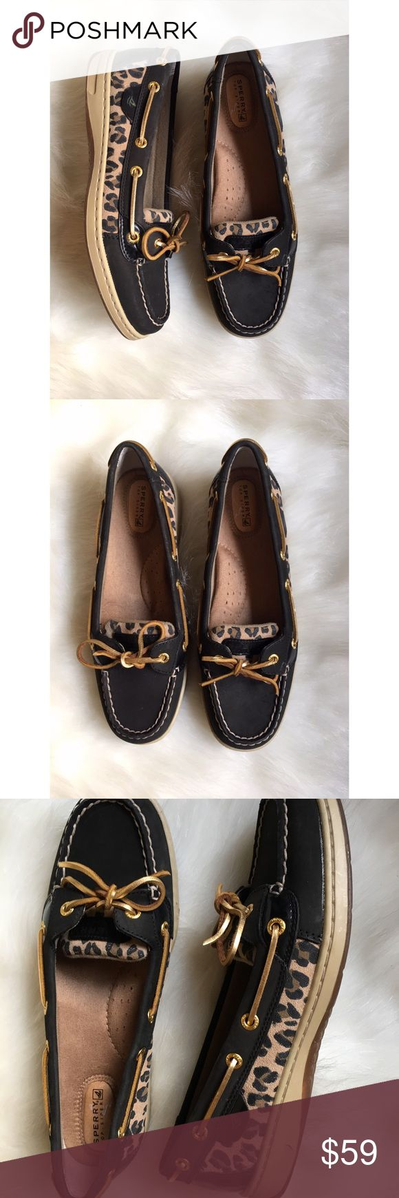 Sperry Top Sider cheetah print slip-on boat shoes Adorable and in amazing condition! No trades. Sperry Shoes Flats & Loafers