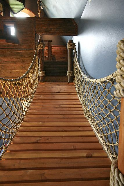 Rope bridge - As with many of the things we build, this is was a first. Ultimately we derive great satisfaction out of overcoming odd design challenges. It's sort of like that good pain you feel the day after a heavy workout.  Steve Kuhl