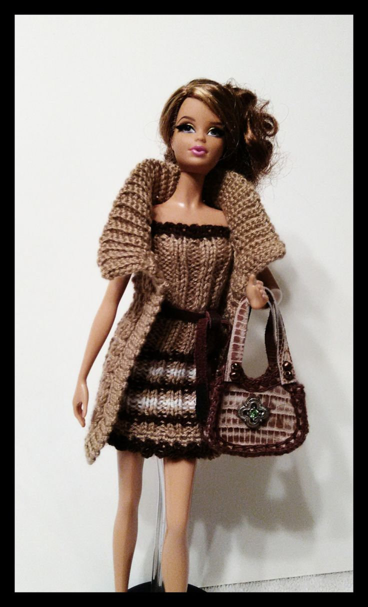 Knitting Clothes For Barbie Dolls : Tan trio knit clothing for barbie doll by busyasabeecrafts