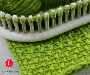 Linen Stitch on a Knitting Loom..  Row 1: Knit 1, Slip 1 wyif  repeat Row 2: Knit Row 3: Slip 1 wyif, Knit 1 repeat Row 4: Knit.. continue.. and yes there is a video.. scroll down.. video shows a great tutorial for how to ewrap and slip stitch.. wyif means 'with yarn in front'