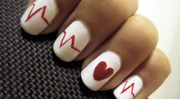 Nurse Manicure: Heart Nails, Heartbeat Nails, Nails Art, Valentine Day, Nur Nails, Valentines Day, Nails Polish, Nur Week, Heart Beats