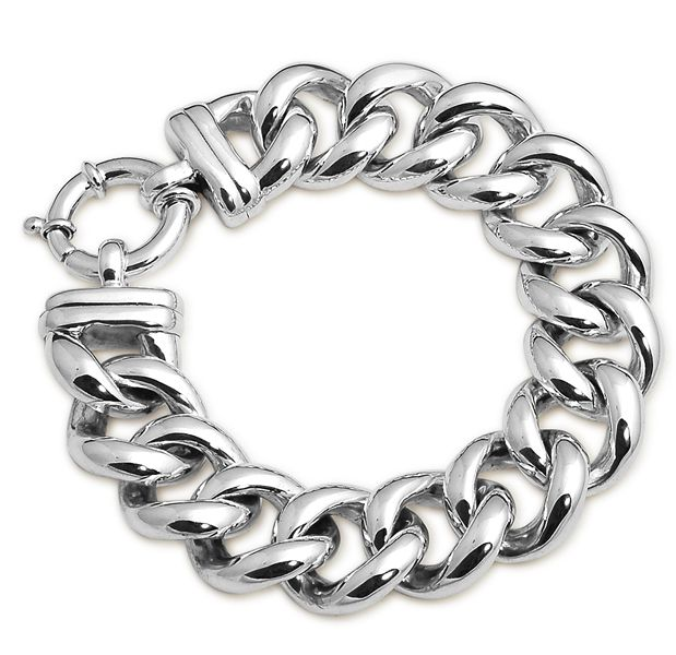 Von Treskow Sterling Silver Big Mama Hollow Curb Bracelet With Bolt Clasp