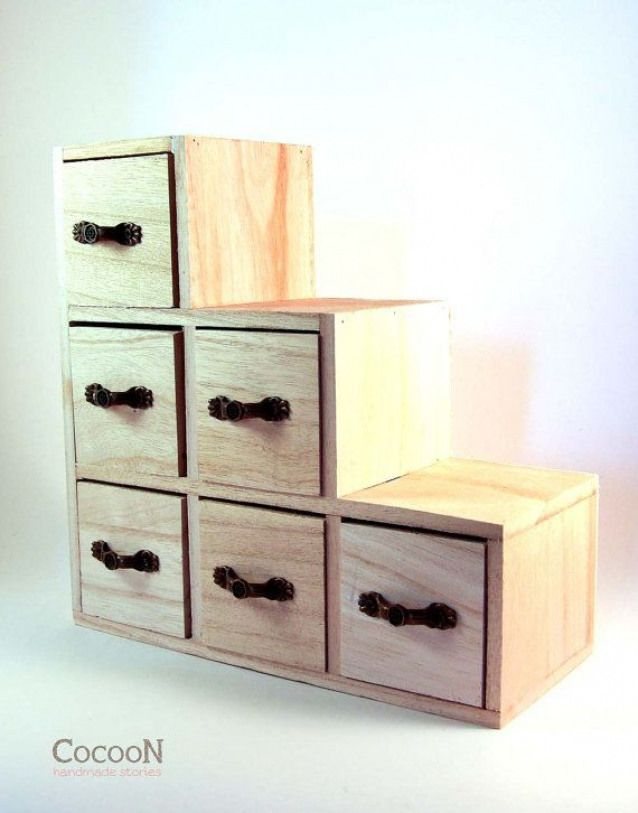 Wood Crafts Unfinished Dollhouse Furniture Miniature Wooden Chest Drawer Small Drawers Mini Of