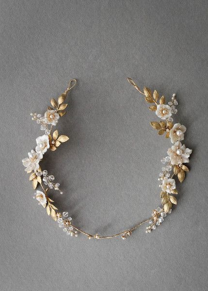 Gold Leaves and White Flowers - Hair Halos for the Princess Bride - Photos