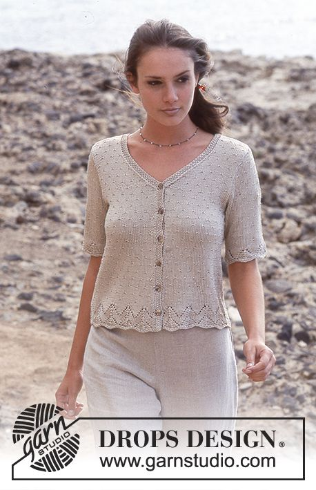 DROPS Cardigan with hole pattern in Cotton Viscose. Free pattern by DROPS Design.