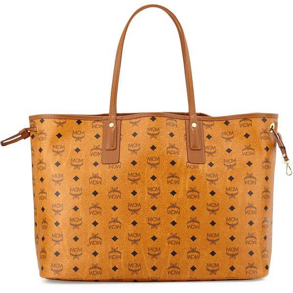 MCM Liz Reversible Large Visetos Tote Bag ($705) ❤ liked on Polyvore featuring bags, handbags, tote bags, cognac, tote, accessories handbags, mcm handbags, cognac handbag and shoulder strap purses