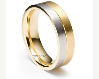 ON SALE Mens Wedding Bands,10K Gold Two Tone Wedding Rings,Matching Wedding Rings,Unisex Wedding Rings,Mens Wedding Rings