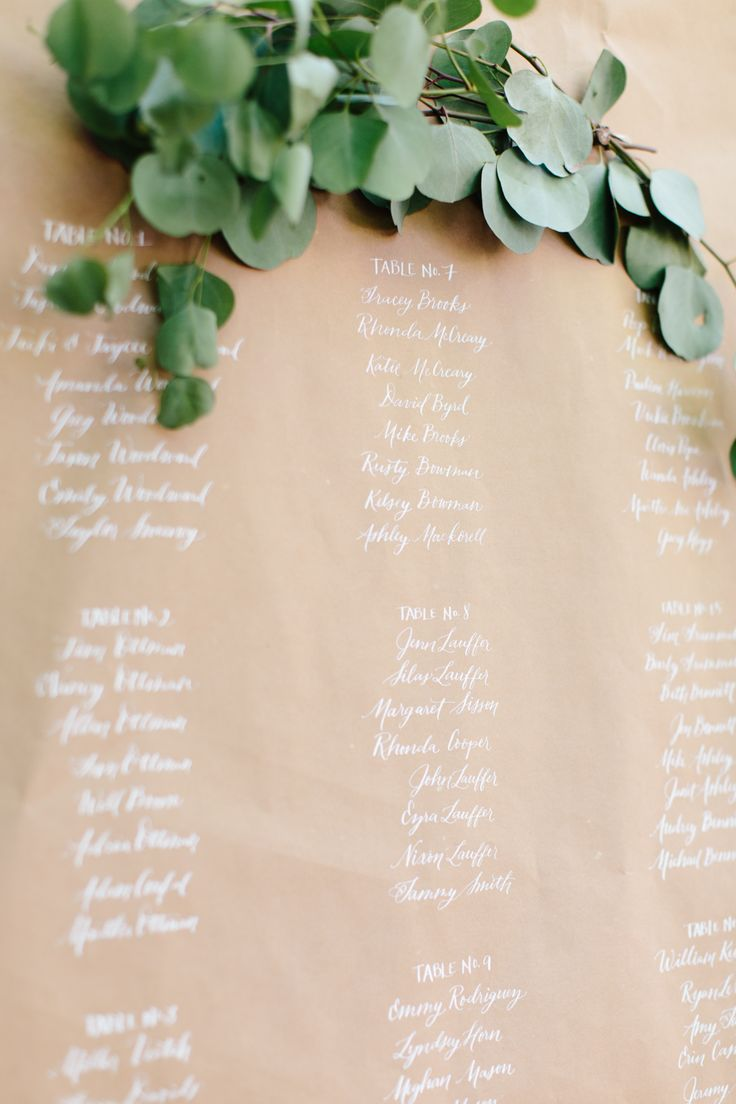 White calligraphy on kraft paper, escort card ideas with eucalyptus garland.  Photo: Lauren Carnes