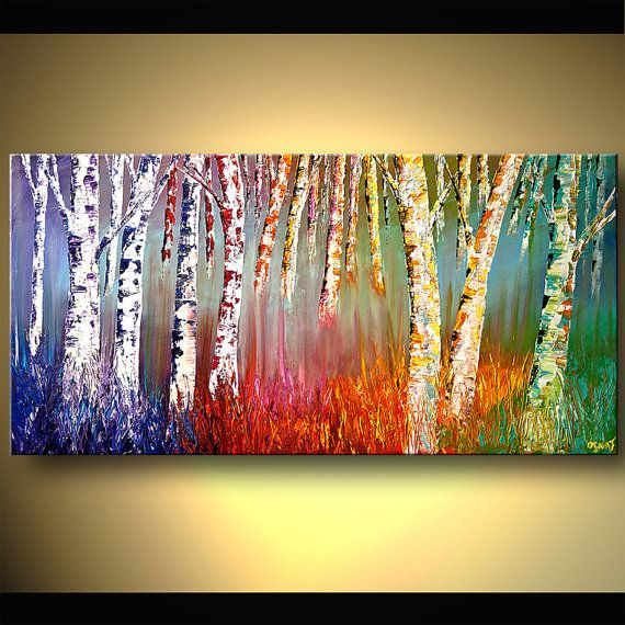 Acrylic Painting Silver Birch Forest Colorful by OsnatFineArt, $580.00