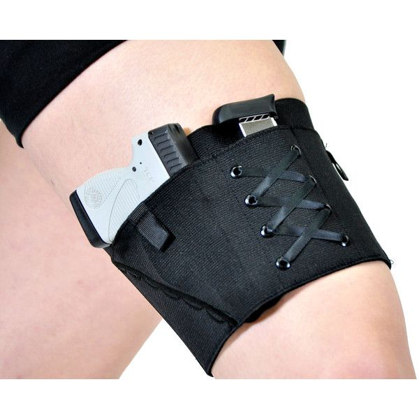 Garter Holster Classic Women's Concealed Carry Garter Black (97 SGD) ❤ liked on Polyvore featuring intimates, weapons, accessories, grey, women's clothing, black garter slip, garter belt, garter slip, black slip and suspender garter belt