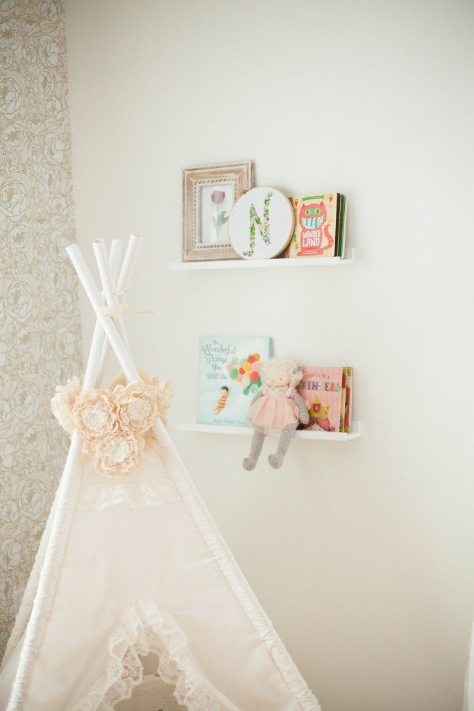 A whimsical, bohemian girl's nursery with removable wallpaper and glam accents   Baby Girl Nursery   Nursery #Decor Ideas   Baby Nursery Ideas   Nursery #Decor   Baby Room #Decor    Lauren McBride